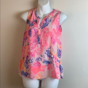 Lilly Pulitzer Kery Silk Top Paradise Pink
